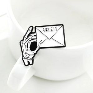 Jewelry - Anxiety Skeleton Hand Envelope Pin